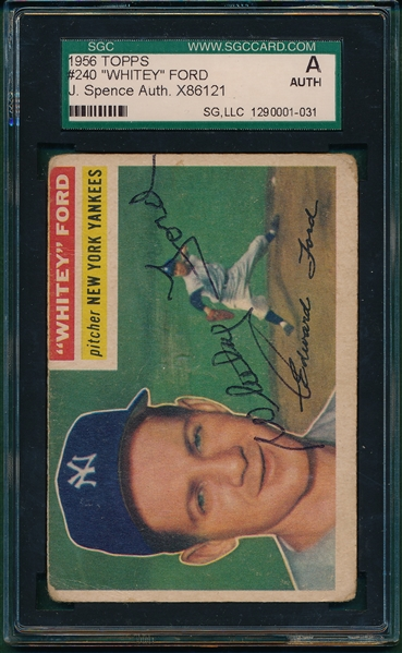 1956 Topps #250 Whitey Ford, Signed SGC Authentic