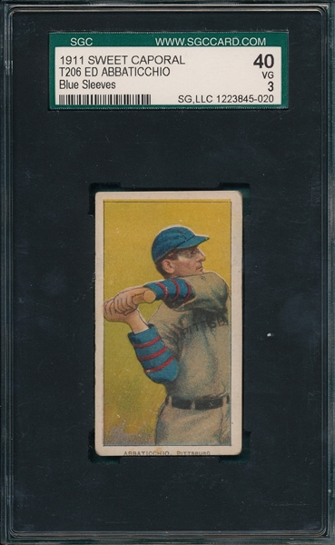 1909-1911 T206 Abbaticchio, Blue Sleeves, Sweet Caporal Cigarettes SGC 40