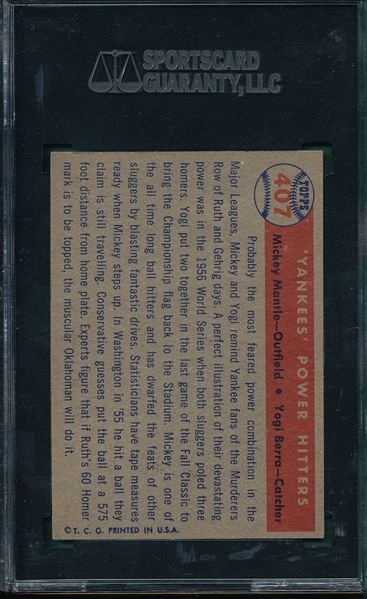 1957 Topps #407 Yankee's Power Hitters W/ Mantle & Berra, SGC 82