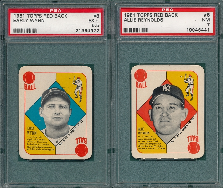 1951 Topps Red Back, #6 Reynolds & #8 Wynn, Lot of (2) PSA