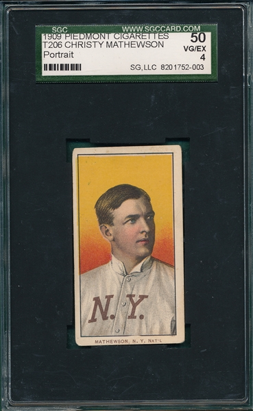 1909-1911 T206 Christy Mathewson, Portrait, Piedmont Cigarettes SGC 50