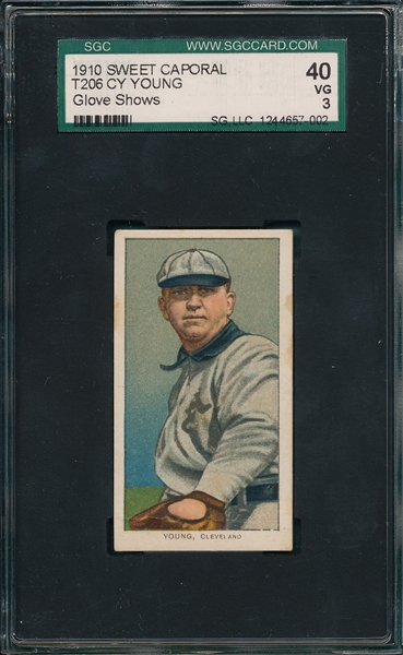 1909-1911 T206 Cy Young, Glove Showing, Sweet Caporal Cigarettes SGC 40