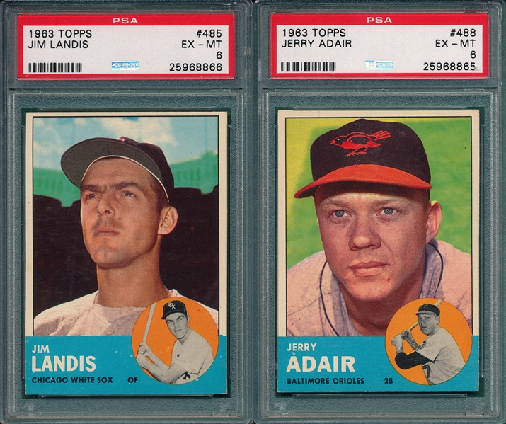 1963 Topps Lot of (5) Mid #s W/ #485 Landis PSA 6