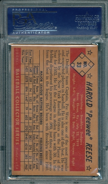 1953 Bowman Color #33 Pee Wee Reese PSA 4