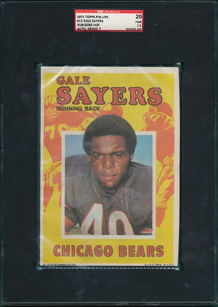 1971 Topps Pin-Ups #12 Gale Sayers, Autographed, SGC Authentic