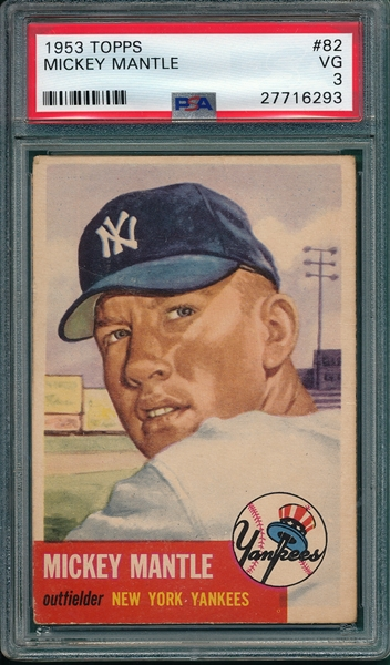 1953 Topps #82 Mickey Mantle PSA 3