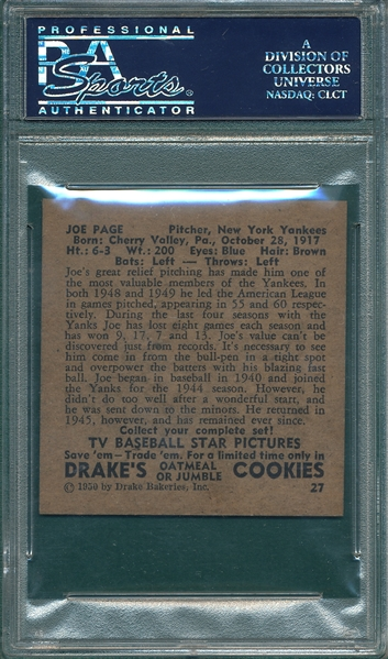 1950 Drake's #27 Joe Page PSA 7 *Only One Graded Higher*