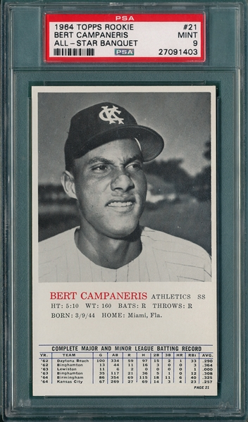 1964 Topps Rookie All-Star Banquet #21 Bert Campaneris PSA 9 *MINT*