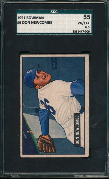 1951 Bowman #6 Don Newcombe SGC 55