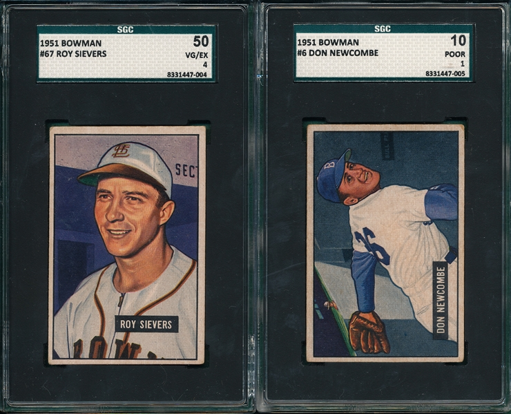 1951 Bowman #67 Sievers & #6 Don Newcombe, Lot of (2) SGC