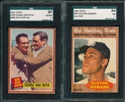1962 Topps #140 Ruth/Gehrig SGC 80 & #473 Howard, AS, SGC 84, Lot of (2)