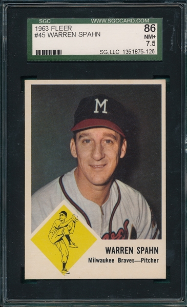 1963 Fleer #45 Warren Spahn SGC 86