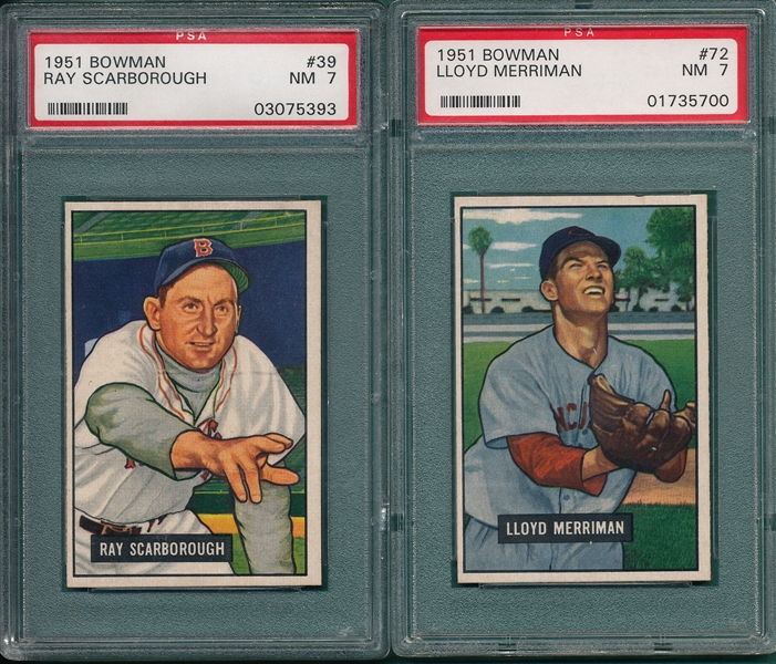 1951 Bowman #39 Scarborough & #72 Merriman, Lot of (2) PSA 7