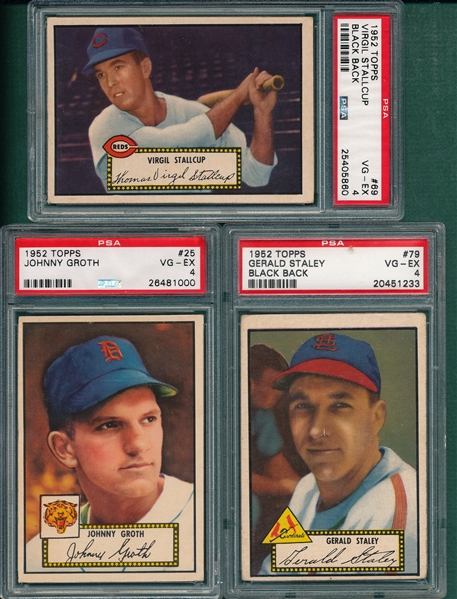 1952 Topps #25 Groth, #69 Stallcup & #79 Staley. Lot of (3), PSA 4