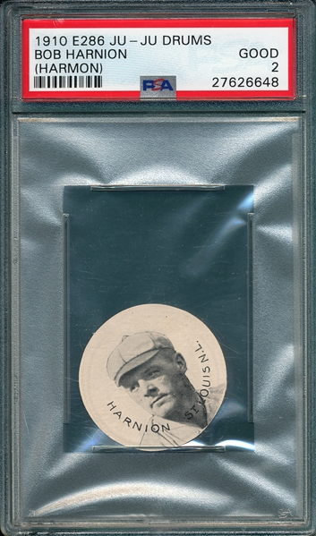 1910 E286 Bob Harnion (Harmon) Ju-JuDrums PSA 2 *Presents Much Better*