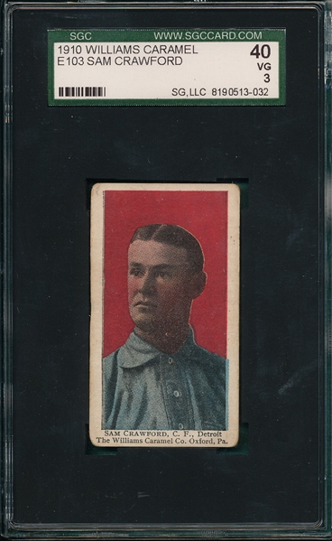 1910 E103 Sam Crawford Williams Caramel SGC 40