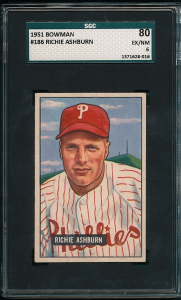 1951 Bowman #186 Richie Ashburn SGC 80