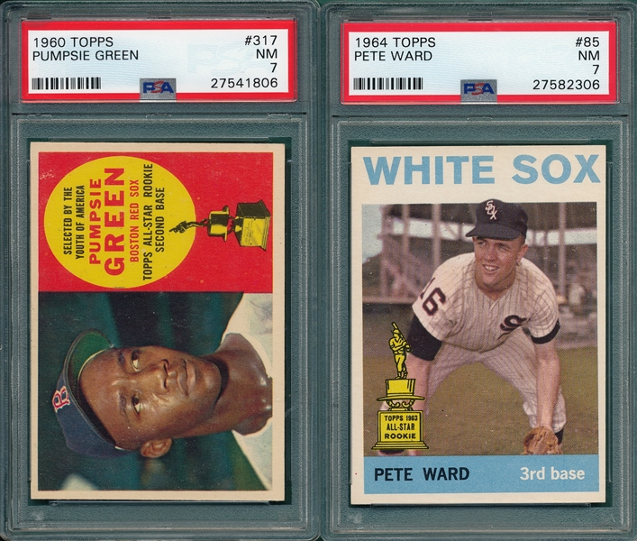 1960-78 Topps Lot of (5) W/ 1960 #317 Green PSA 7