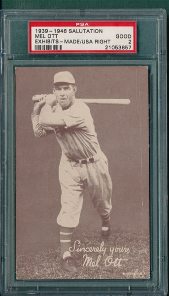 1939-46 Exhibits Salutations Mel Ott, Made in USA Right PSA 2