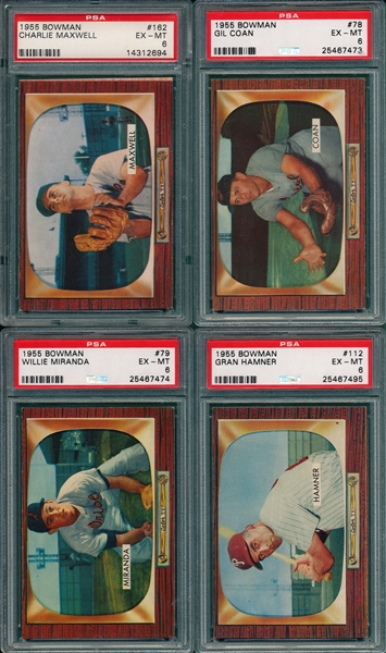 1955 Bowman Lot of (4) W/ #78 Coan, PSA 6