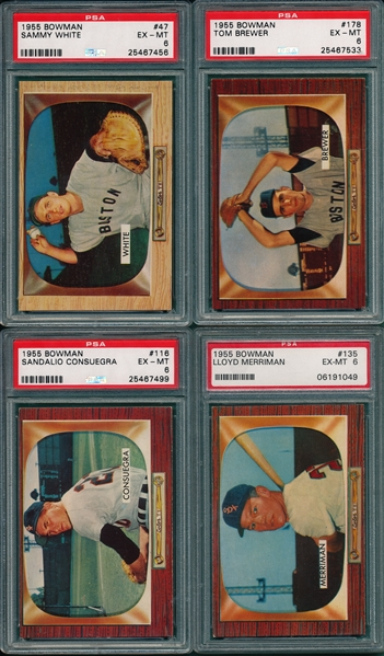 1955 Bowman Lot of (4) W/ #47 White, PSA 6