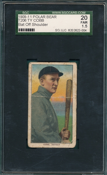 1909-1911 T206 Ty Cobb, Bat Off Shoulder, Polar Bear SGC 20