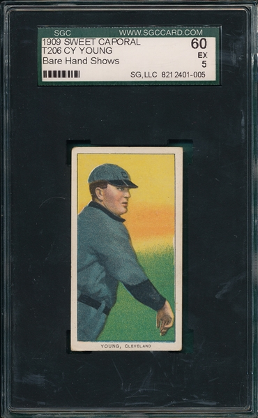 1909-1911 T206 Cy Young, Bare Hand, Sweet Caporal Cigarettes SGC 60