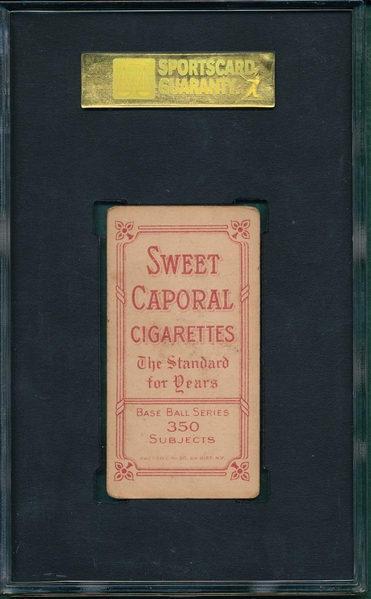 1909-1911 T206 Walter Johnson, Portrait, Sweet Caporal Cigarettes SGC 40