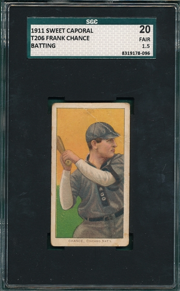 1909-1911 T206 Chance, Batting, Sweet Caporal Cigarettes SGC 20