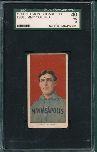 1909-1911 T206 Collins, Jimmy, Piedmont Cigarettes SGC 40
