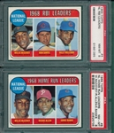 1969 Topps #004 NL RBI Leaders & #6 NL HR Leaders, Lot of (2), PSA 8