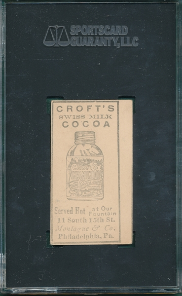 1909 E92 Johnny Seigle, Croft's Cocoa, SGC Authentic