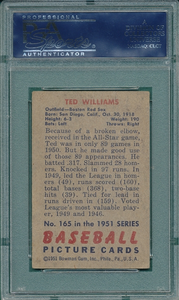 1951 Bowman #165 Ted Williams PSA 3