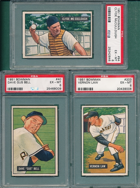 1951 Bowman #40, #94 & #203, Lot of (3), PSA 6