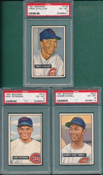 1951 Bowman #108, #215 & #252, Lot of (3), PSA 6