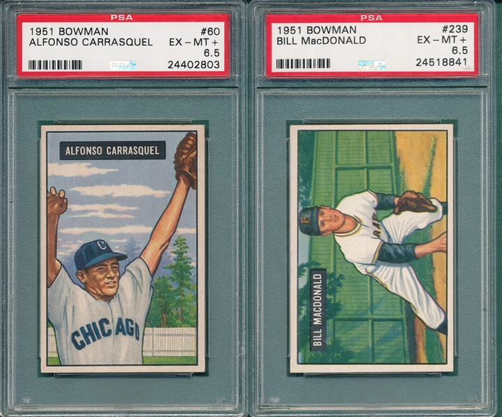 1951 Bowman #60 Carrasquel & #239 MacDonald, Lot of (2), PSA 6.5