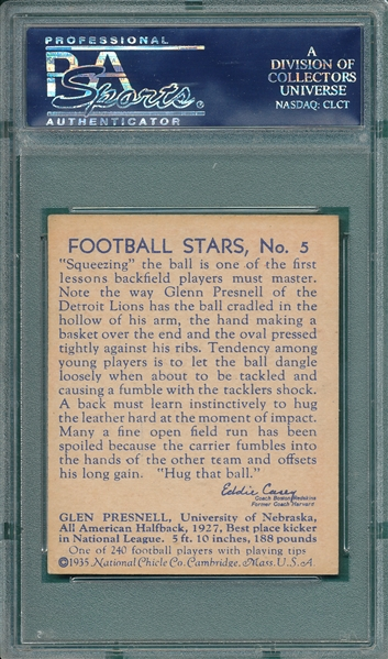 1935 National Chicle #5 Glenn Presnell PSA 5