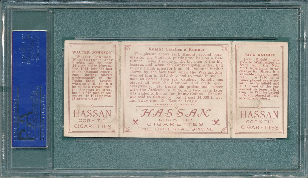 1912 T202 Knight Catches A Runner, Johnson/Knight, Hassan Cigarettes PSA 3