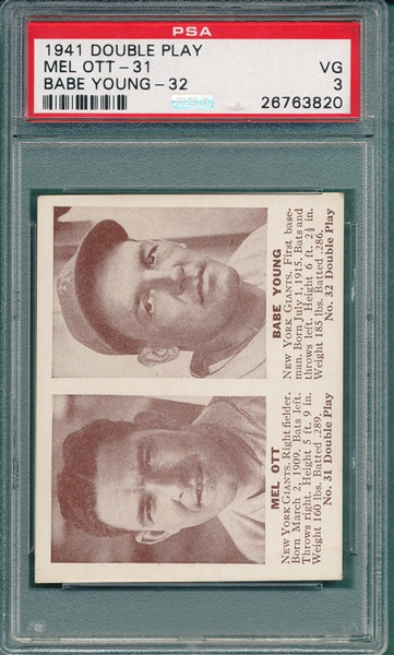 1941 Double Play 31/32 Ott/Young PSA 3