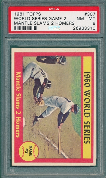 1961 Topps #307 WS Game 2 W/Mickey Mantle PSA 8