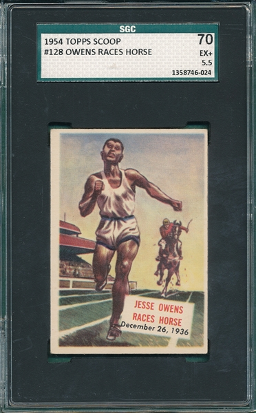 1954 Topps Scoops #128 Owens Races Horse SGC 70