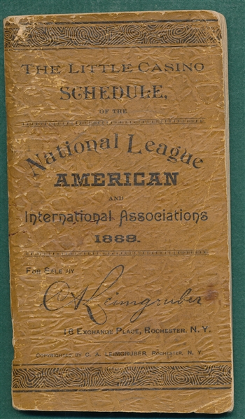 1889 Little Casino National & International League Baseball Schedule