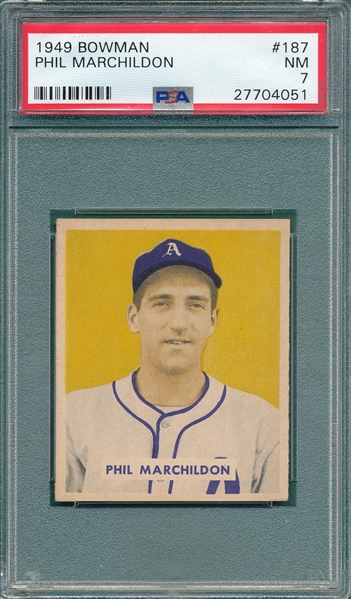 1949 Bowman #187 Paul Marchildon PSA 7 *Hi #*
