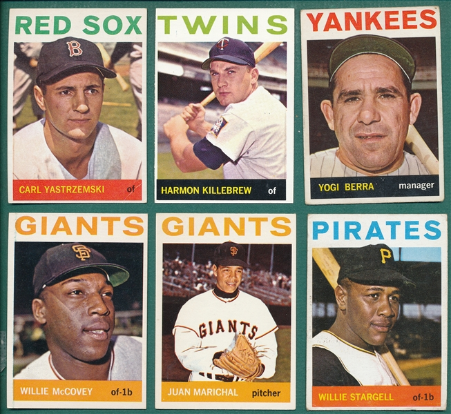 1964 Topps Lot of (33) HOFers & Rookies W/ #21 Berra