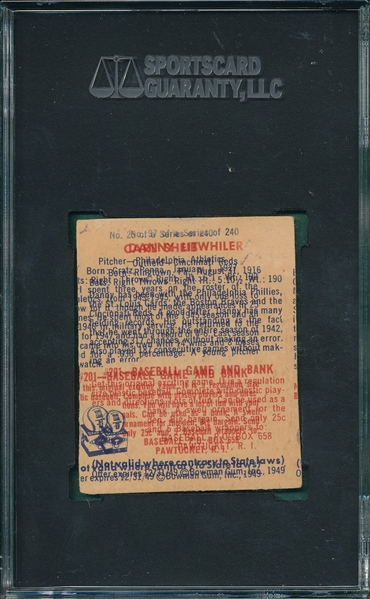 1949 Bowman #25 Carl Sheib, W/ Over Print Back, SGC Authentic