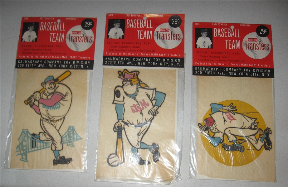1963 Baseball Team Iron on Transfers Lot of (4) *In Package*