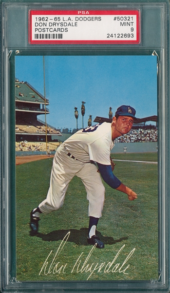 1962-65 L. A. Dodgers PC Don Drysdale PSA 9 *MINT*