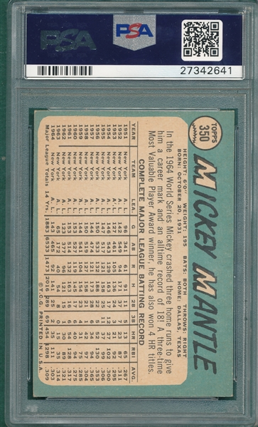 1965 Topps #350 Mickey Mantle PSA 6