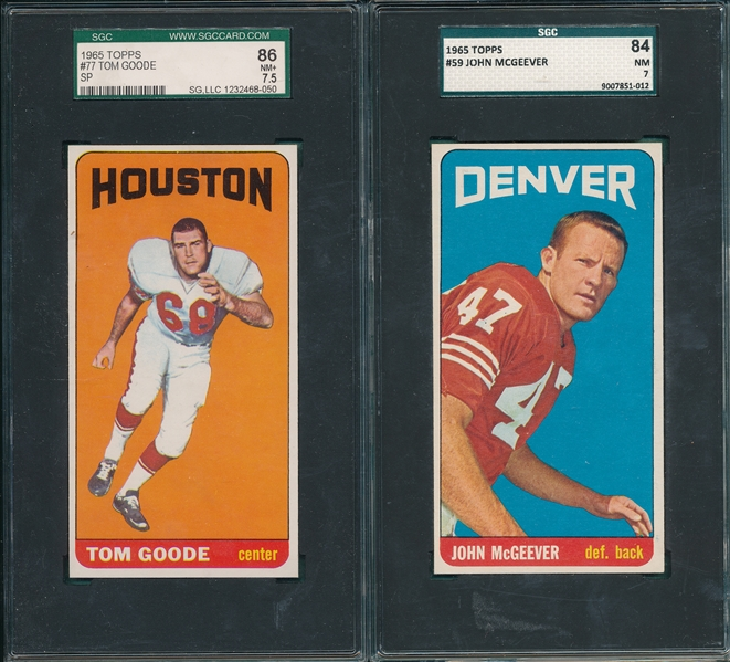 1965 Topps #59 McGeever SGC 84 & #77 Goode, SP, SGC 86, Lot of (2)