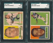 1957 Topps FB Lot of (6) W/ #128 Moore SGC